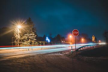 Obraz Noc, droga, smuga światła - fototapety do salonu