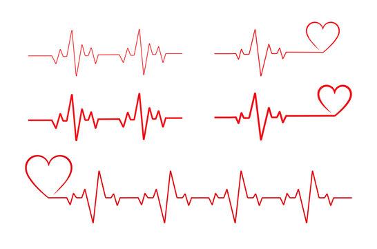 Heartbeat line heart cardio vector icon