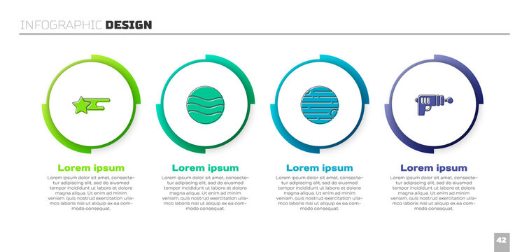 Set Falling star, Planet, and Ray gun. Business infographic template. Vector