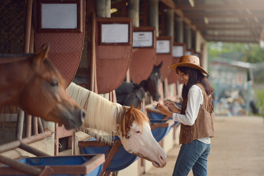Cowgirl working stables.Concept of retro woman in horse ranch
