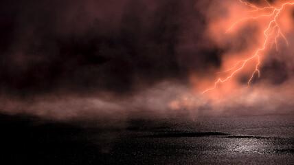 Fototapeta Dramatic background of the night sky, thunderstorm, lightning. Smoke, fog, smog against the background of the city landscape. Natural night landscape, night sky, wet asphalt, puddles. obraz