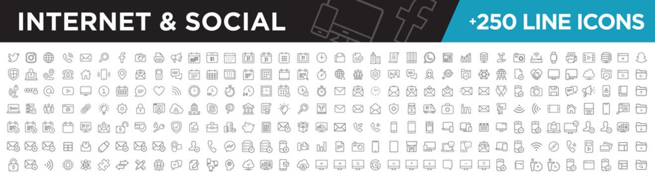 Internet & social icons line