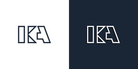 Obraz Abstract line art initial letters KA logo. - fototapety do salonu
