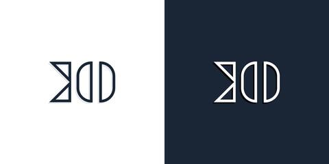 Fototapeta Abstract line art initial letters KO logo. obraz