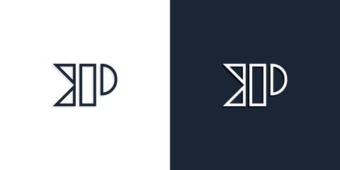 Obraz Abstract line art initial letters KP logo. - fototapety do salonu