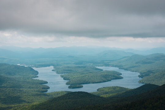 View of Lake Placid from Whiteface Mountain in the Adirondack Mountains, New York