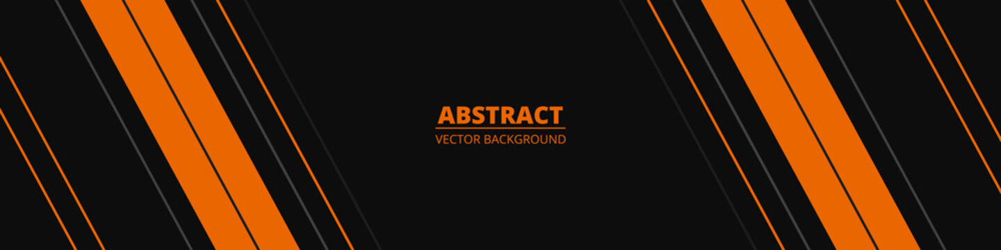 Black abstract wide horizontal banner with orange and gray lines, arrows and angles. Dark modern sporty bright futuristic horizontal abstract background. Wide vector illustration EPS10.