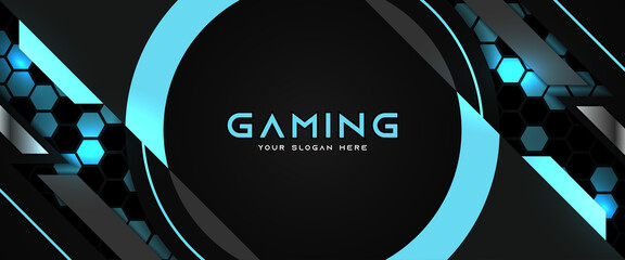 Fototapeta Futuristic black and blue gaming banner design template with metal technology concept. Vector illustration for business corporate promotion, game header social media, live streaming background obraz