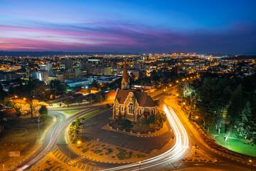 Fototapeta Historical landmark Christ Church aka Christuskirche at dusk in Windhoek, the capital and largest city of Namibia. obraz