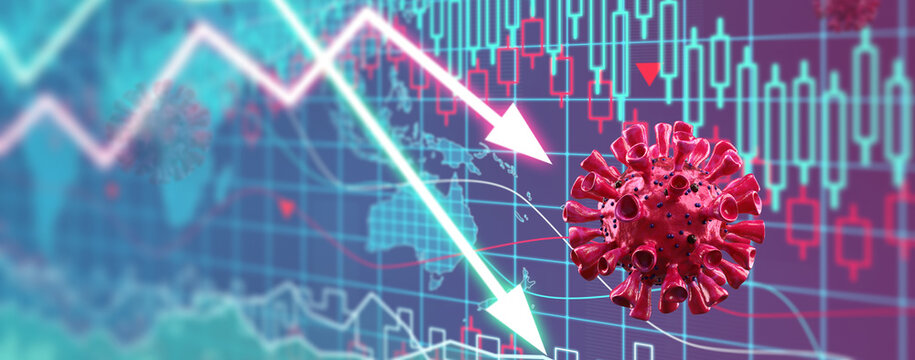 Covid crisis and the collapse of the markets, economic fallout. 3d illustration