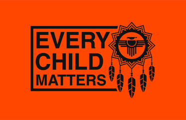 Fototapeta Design of Memorial in tribute to aboriginal children whose remain found in Residential School in Kamloops, Canada. Every Child Matters indigenous sign. Logo Vector Illustration. obraz
