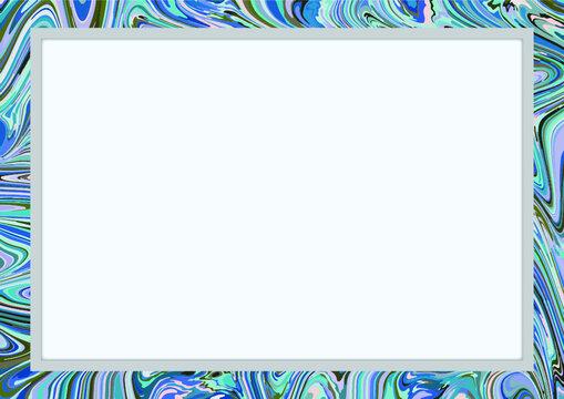 사각 프레임에 푸른색 마블링 배경 이미지