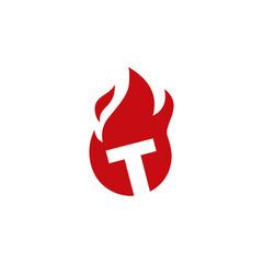 Fototapeta t letter fire flame logo vector icon illustration obraz