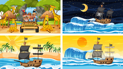 Set of different scenes with pirate ship at the sea and animals in the zoo