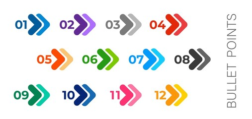 Colourful arrows set isolated on white. Bullet points numbers from one to twelve.