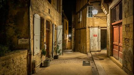 Beautiful old village of Sarlat la Caneda at night in France