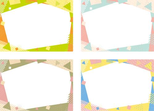 3色の幾何学フレームセット