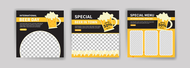 Obraz International Beer Day. Social media post template for digital marketing and promotion of food and drink sales. culinary advertisement. Offer social media banners. - fototapety do salonu