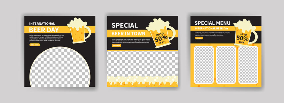 International Beer Day. Social media post template for digital marketing and promotion of food and drink sales. culinary advertisement. Offer social media banners.