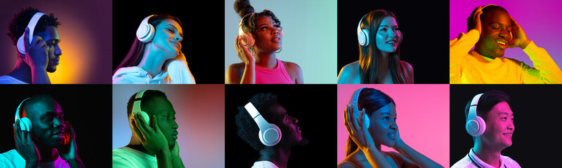 Collage of portraits of an ethnically diverse people in white headphones isolated over multicolored...