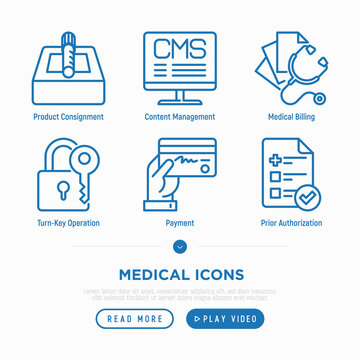 Medical thin line icons set: payment, prior autorization, medical billing, turn-key operation, product consignment, content management. Vector illustration