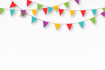 Fototapeta Carnival garland with pennants. Decorative colorful party flags for birthday celebration, festival and fair decoration. Festive background with hanging flags and pennants obraz