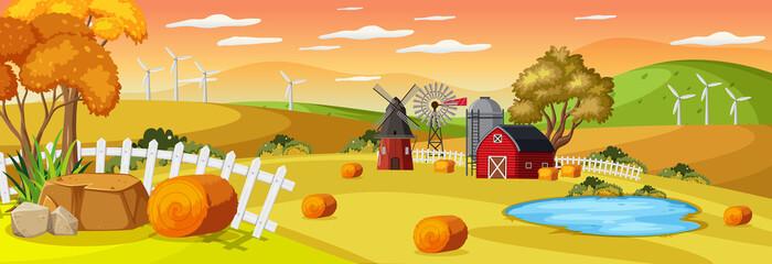 Farm horizontal landscape at sunset time scene