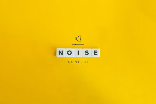 Noise Control Banner and Concept. Block letters on bright orange background. Minimal aesthetics.