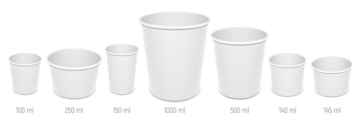 Obraz Set of vector realistic blank disposable ice cream buckets, cups and bowls. Different sizes of paper open empty food containers mockup. - fototapety do salonu