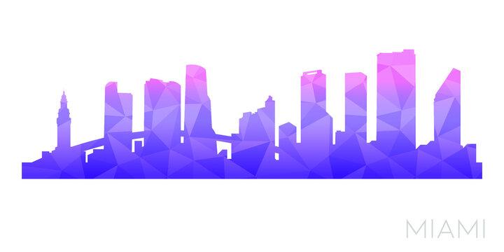 Miami, FL, USA Low Poly Skyline Clip Art City Design. Geometric Polygon Graphic Horizon Icon. Vector Illustration Symbol.