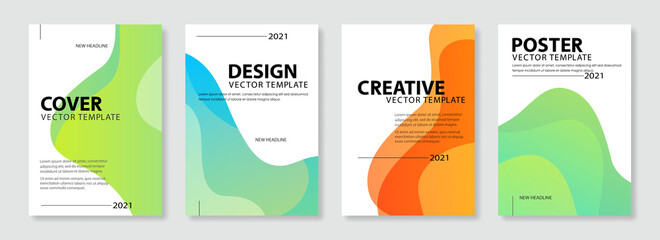 Fototapeta Set of colorful cover design template. Modern gradient shapes background for poster, banners, flyer, brochure and page layout other. obraz