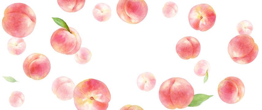 ジューシーな桃の背景。水彩イラスト。コピースペースあり。横長サイズ。