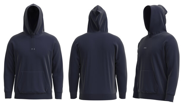 4K 3D rendered images of  Blank navy hoodie template. Hoodie sweatshirt long sleeve with clipping path, hoody for design mockup for print, isolated on white background.