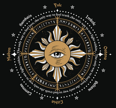 Sun and one eye mystical drawing. wheel of the Year is an annual cycle of seasonal festivals. Wiccan calendar and holidays. Compass with triple sun Wiccan pagan goddess and sun phases symbol. geometry