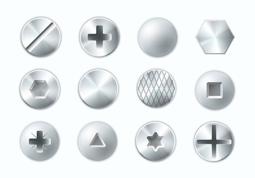 Collection of metal heads screws and nails vector illustration different metallic bolts cap