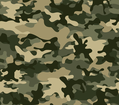 Green camouflage summer vector pattern, classic trendy fashion design.