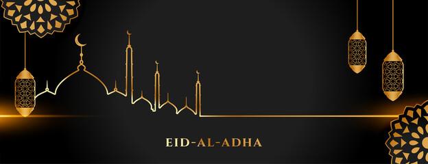 Fototapeta islamic holy eid al adha festival golden and black banner obraz