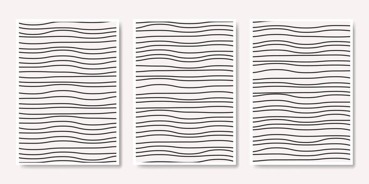 white abstract background with black wavy line shape design.