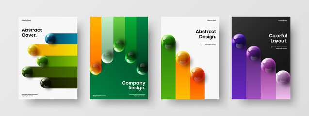 Obraz Isolated annual report vector design layout set. Premium 3D orbs catalog cover template composition. - fototapety do salonu
