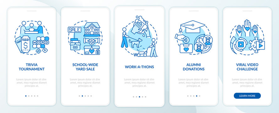 Money donation ideas onboarding mobile app page screen. School-wide yard sale walkthrough 5 steps graphic instructions with concepts. UI, UX, GUI vector template with linear color illustrations