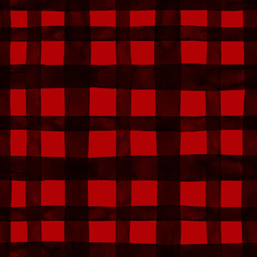 Buffalo plaid check seamless pattern. Hand drawn black lines, stripes on red backdrop. Checkered background texture. Farmhouse style print. Gingham wallpaper.