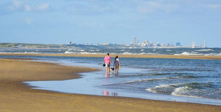 Scheveningen sand beach by the Hague, South Holland, Netherlands