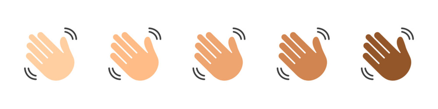 Set of waving hands isolated on white background. Hands of people of different skin colors. A sign of greeting or goodbye. Flat style. Vector illustration