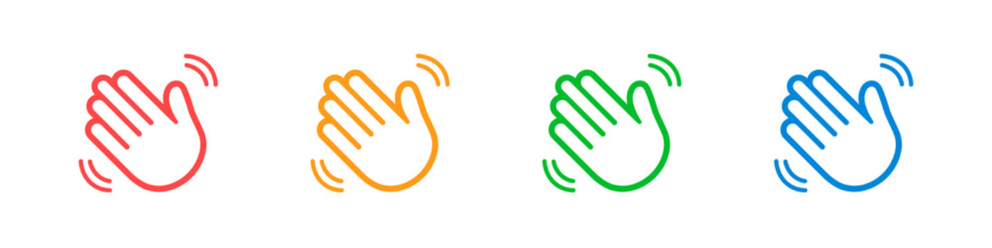 Waving hands icons set isolated on white background. A sign of greeting or goodbye. Flat style. Vector illustration