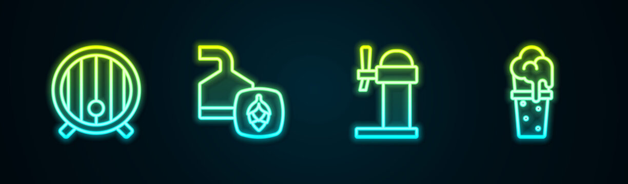 Set line Wooden barrel, Beer brewing process, Dispenser beer and Glass of. Glowing neon icon. Vector