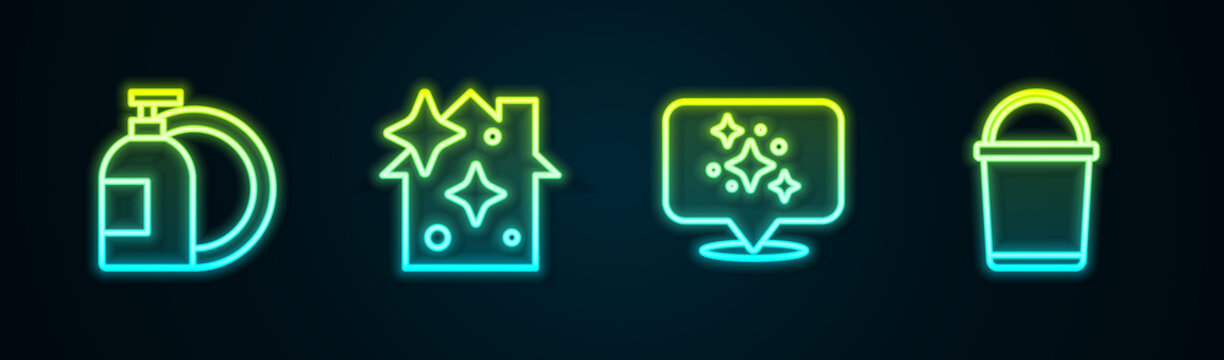Set line Dishwashing liquid bottle, Home cleaning service, and Bucket. Glowing neon icon. Vector
