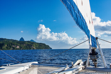 Beautiful green bay with blue waters, Rodney Bay, Saint Lucia, Caribbean island
