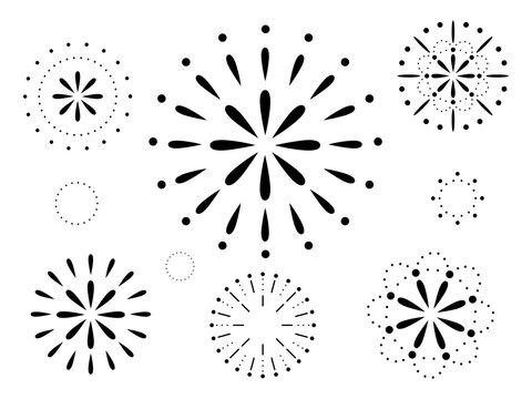 黒いシンプルな花火の背景グラフィック素材