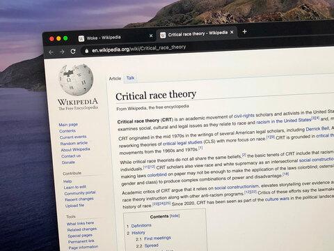 Amsterdam, the Netherland - July 2, 2021: Wikipedia page about Critical race theory CRT.