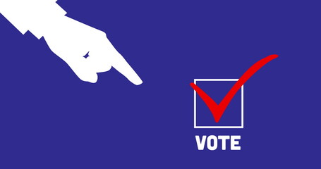 Image of an hand and finger pointing at white box with red tick and the word Vote on blue backgr